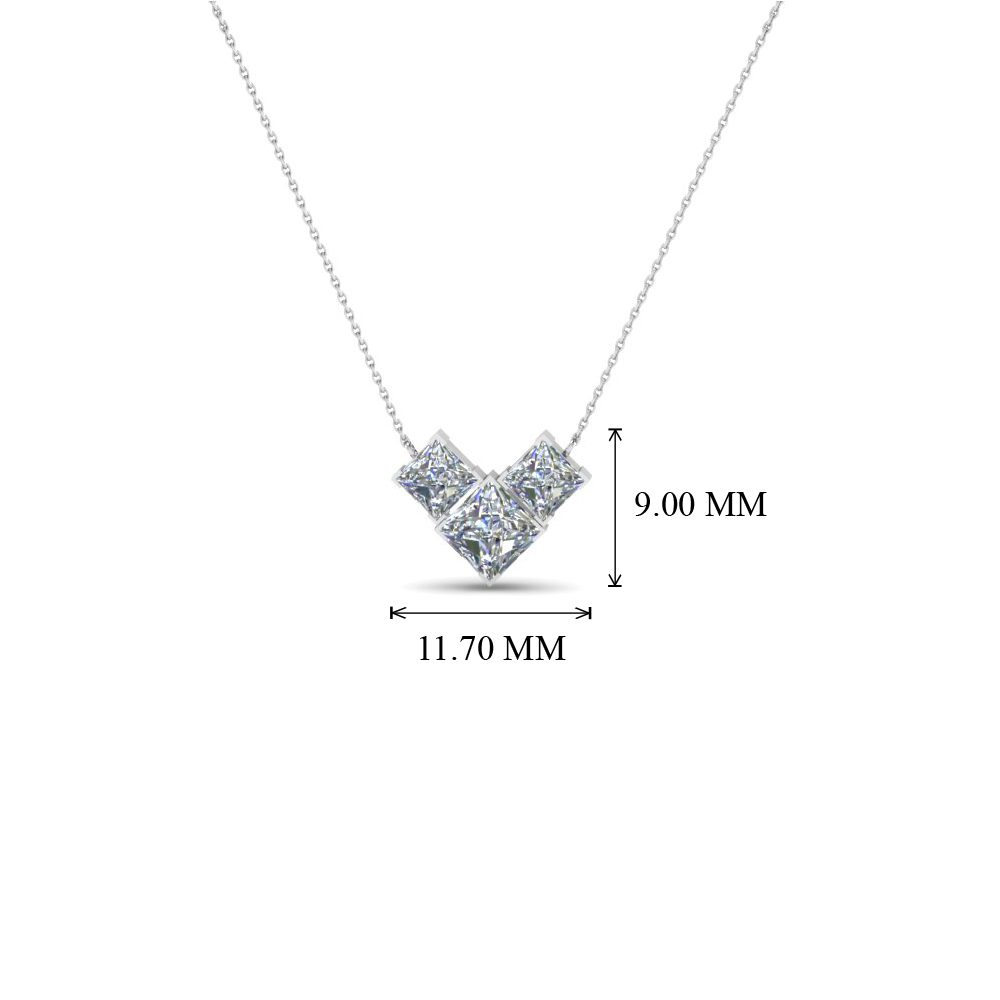 ct princess necklace diamond cut k jewelryrosy gold pendant white tw in imgdetails