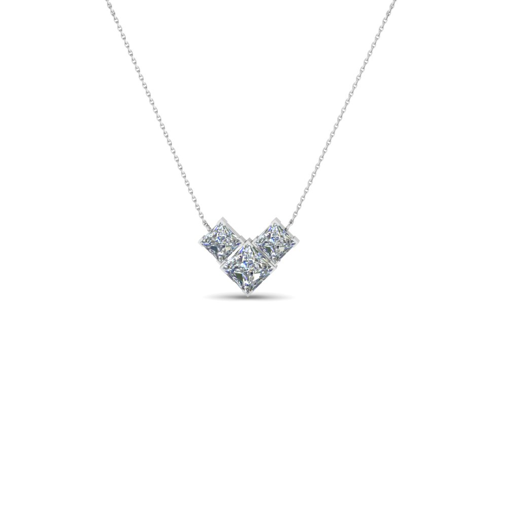 3 Diamond Princess Cut Necklace 18K White Gold