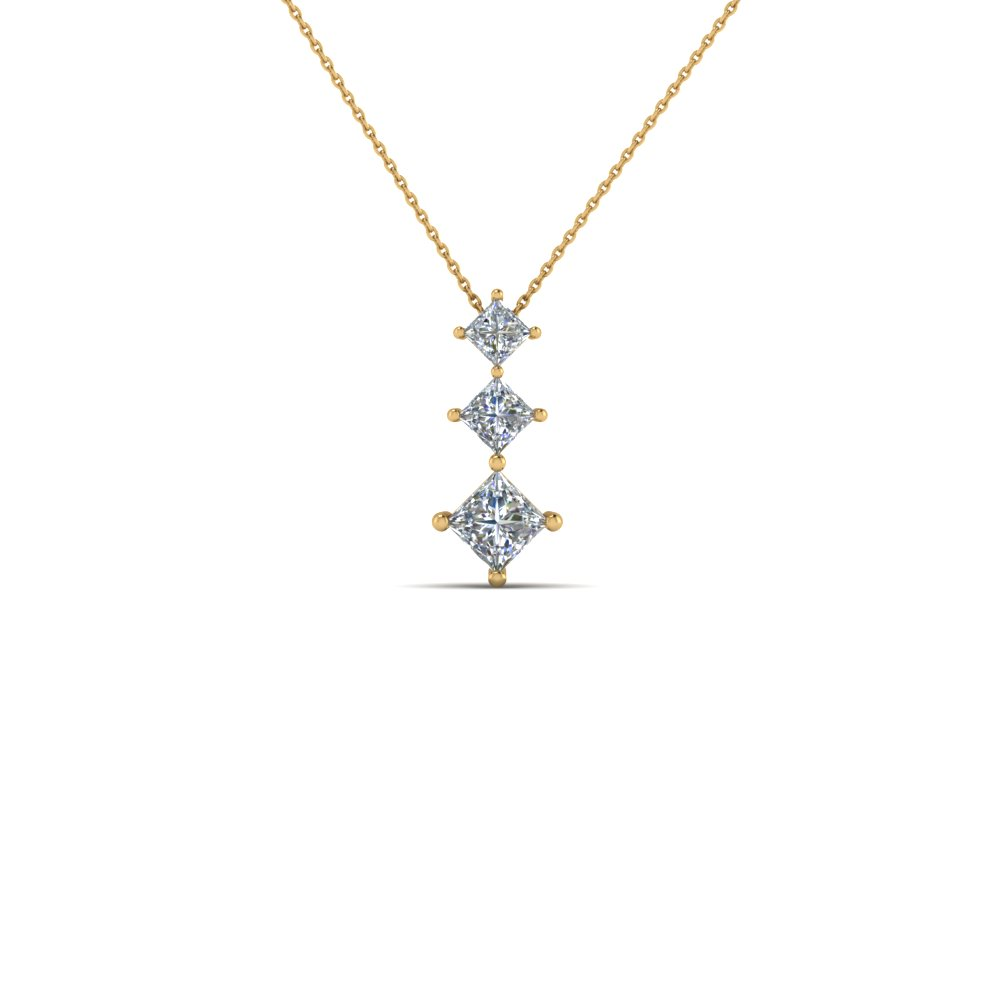 3 Stone Princess Diamond Pendant
