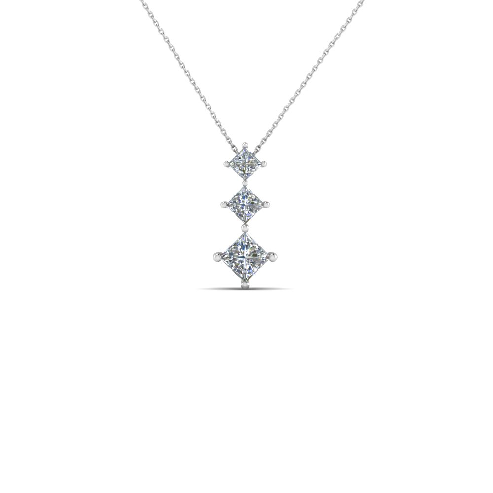 3 princess diamond graduated pendant necklace in 950 Platinum FDPD854 NL WG