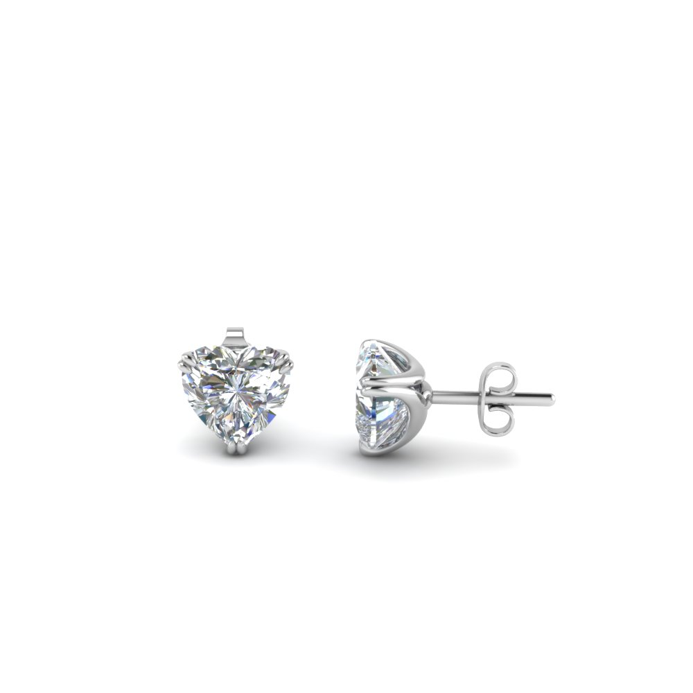 white hearts on laing stud earrings fire prong diamond gold image