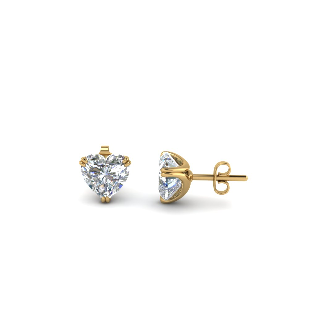 Half Carat 3 Prong Heart Diamond Stud Earring