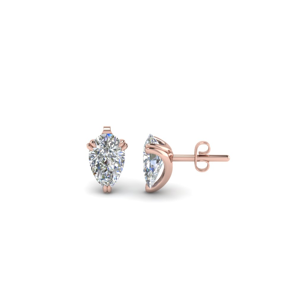 3 Prong Pear Diamond Stud Earring (0.50 Carat)