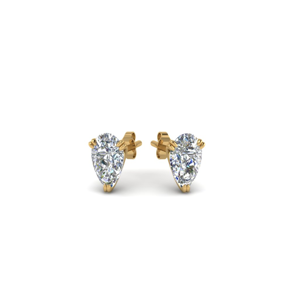 martini three stud diamond earrings in prong round front side