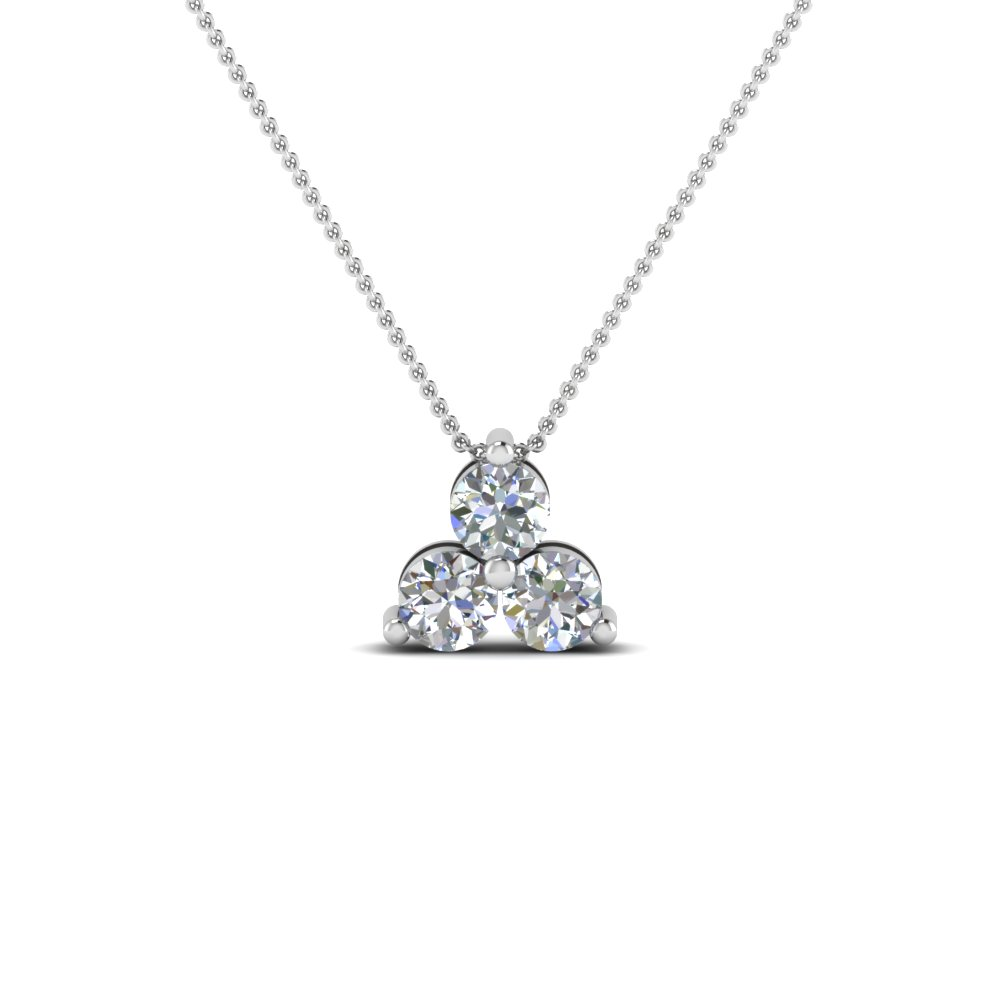 three stone round diamond pendant in 14K white gold FDPD410 NL WG
