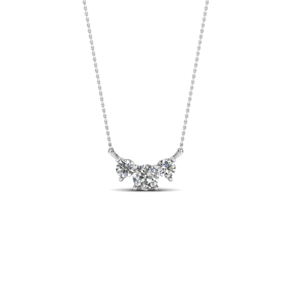 252dfdafbccd58 3 Round Diamond Pendant Necklace In 14K White Gold | Fascinating ...