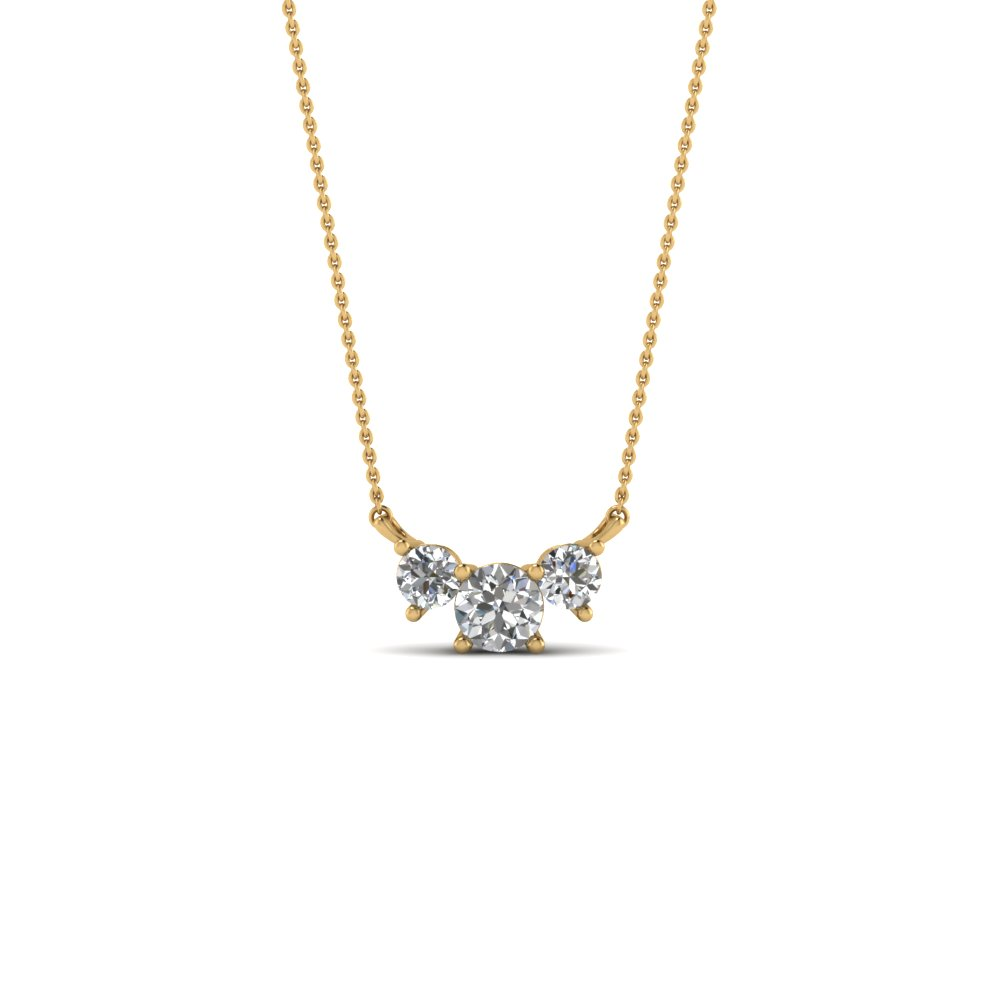 Gold 3 Stone Diamond Pendant
