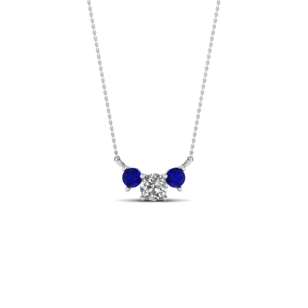 df616f453 3 round diamond pendant necklace with sapphire in FDPD894GSABL NL WG
