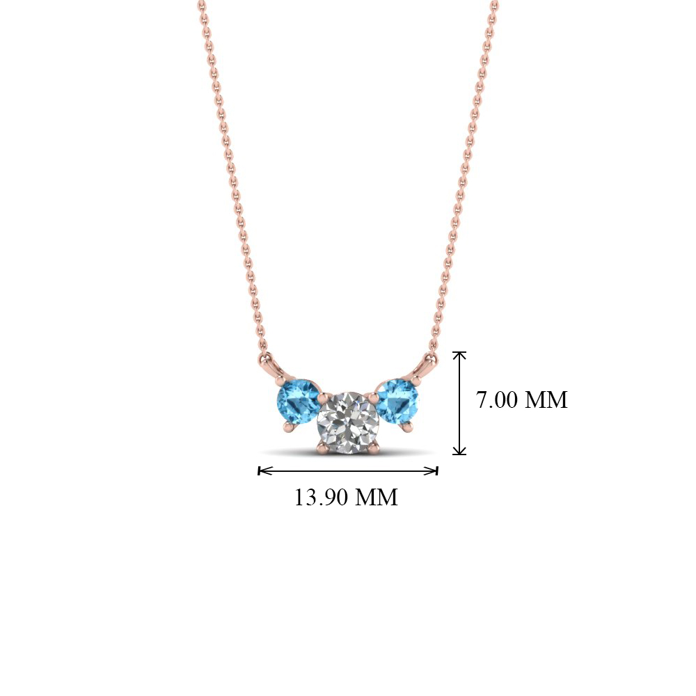 3 round diamond pendant necklace with blue topaz in 14k rose gold add to cart aloadofball Images
