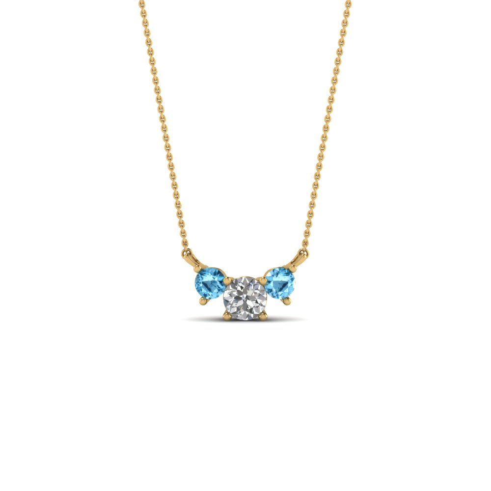 3 round diamond pendant necklace with blue topaz in FDPD894GICBLTO NL YG