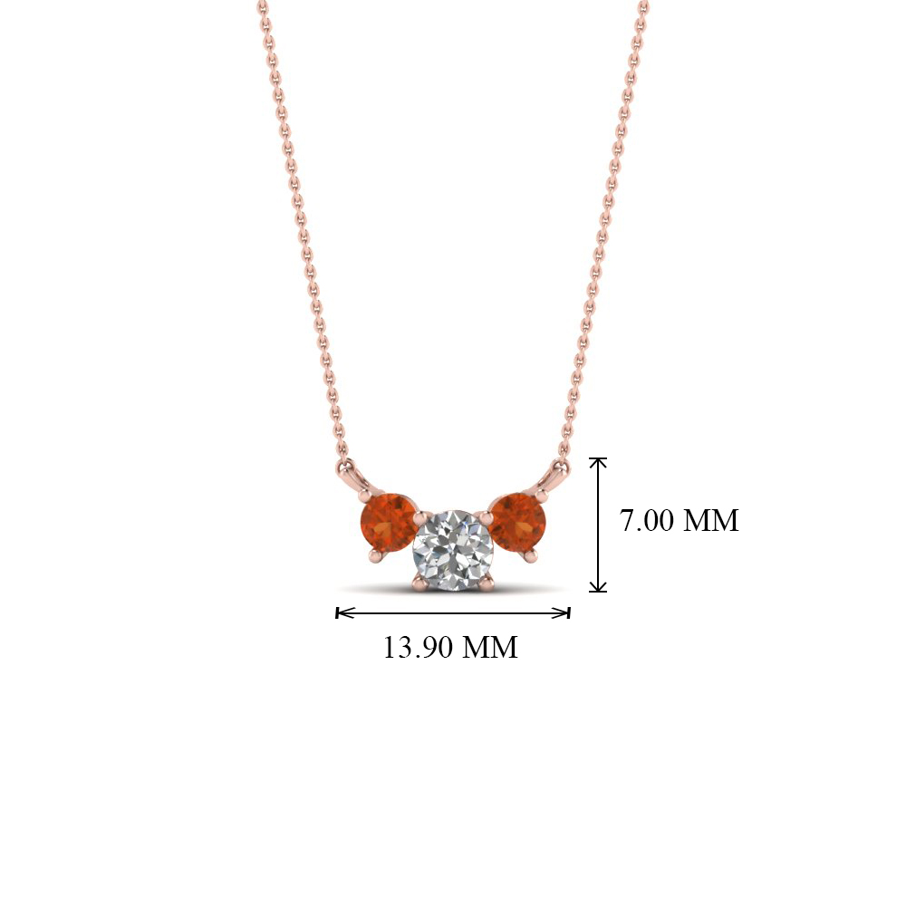 3 round diamond pendant necklace with orange sapphire in 14k rose add to cart aloadofball Gallery