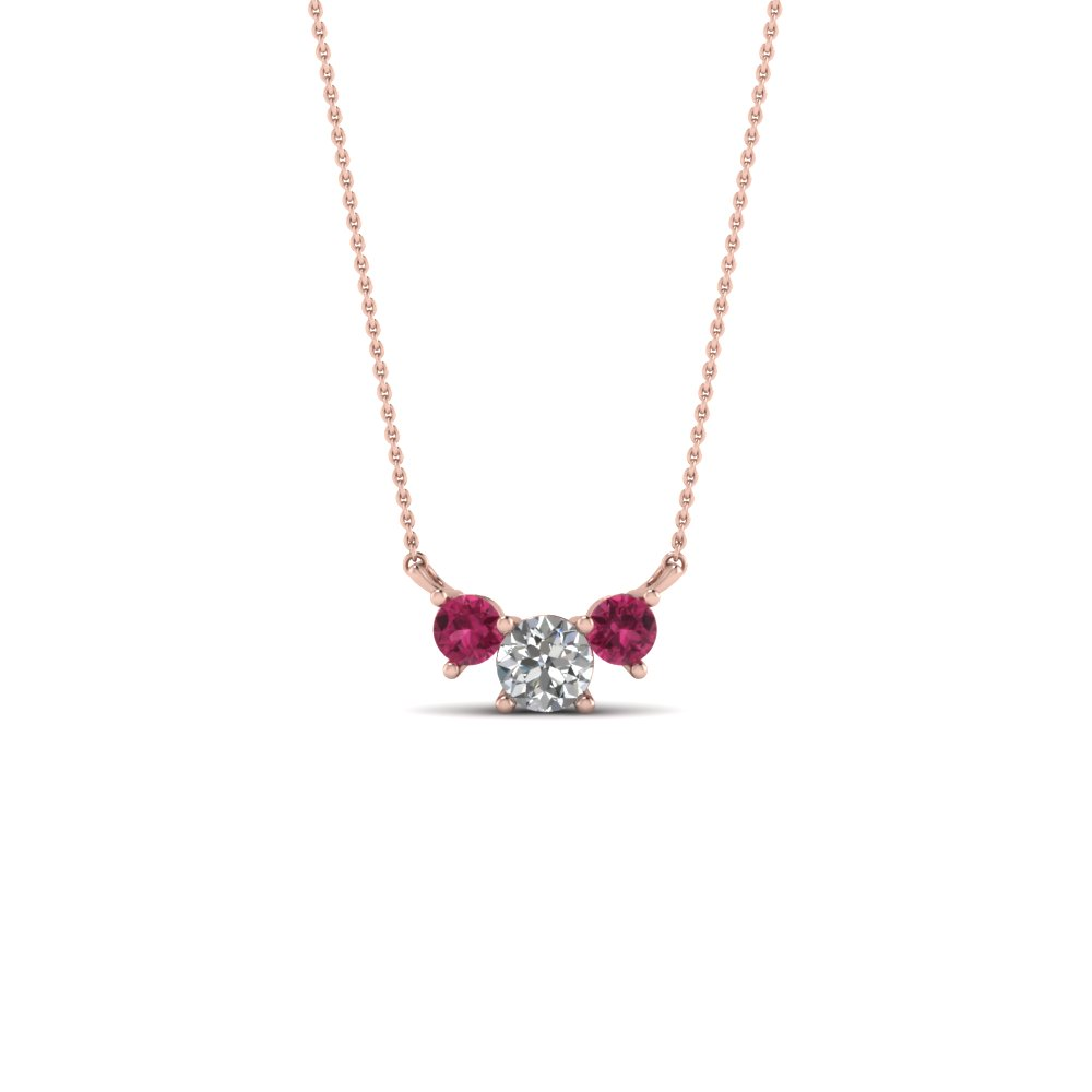 3 round diamond pendant necklace with pink sapphire in FDPD894GSADRPI NL RG