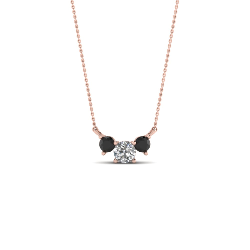 3 round pendant necklace with black diamond in 18k rose gold 3 round pendant necklace with black diamond in fdpd894gblack nl rg aloadofball Choice Image