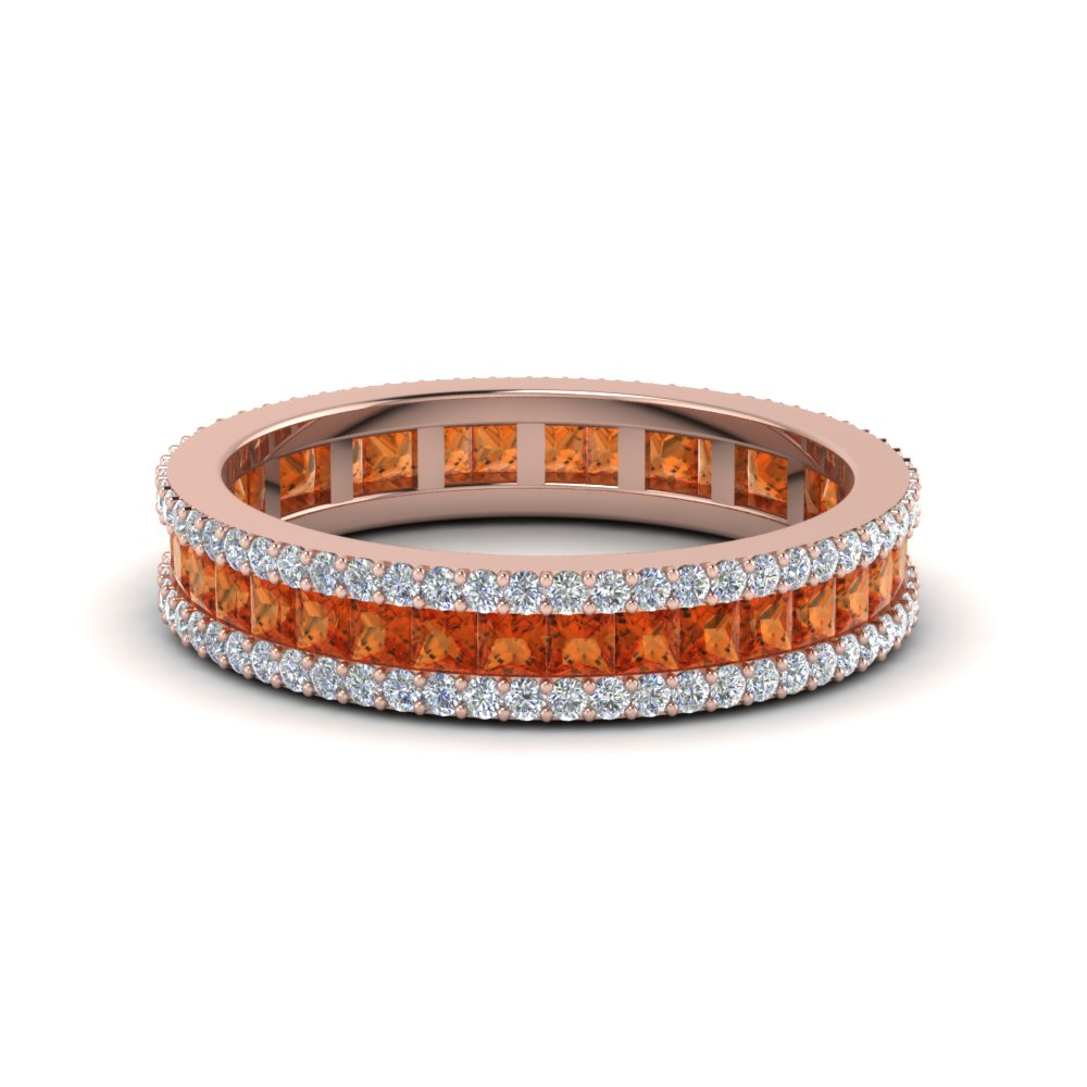 3 Row Orange Sapphire Eternity Ring