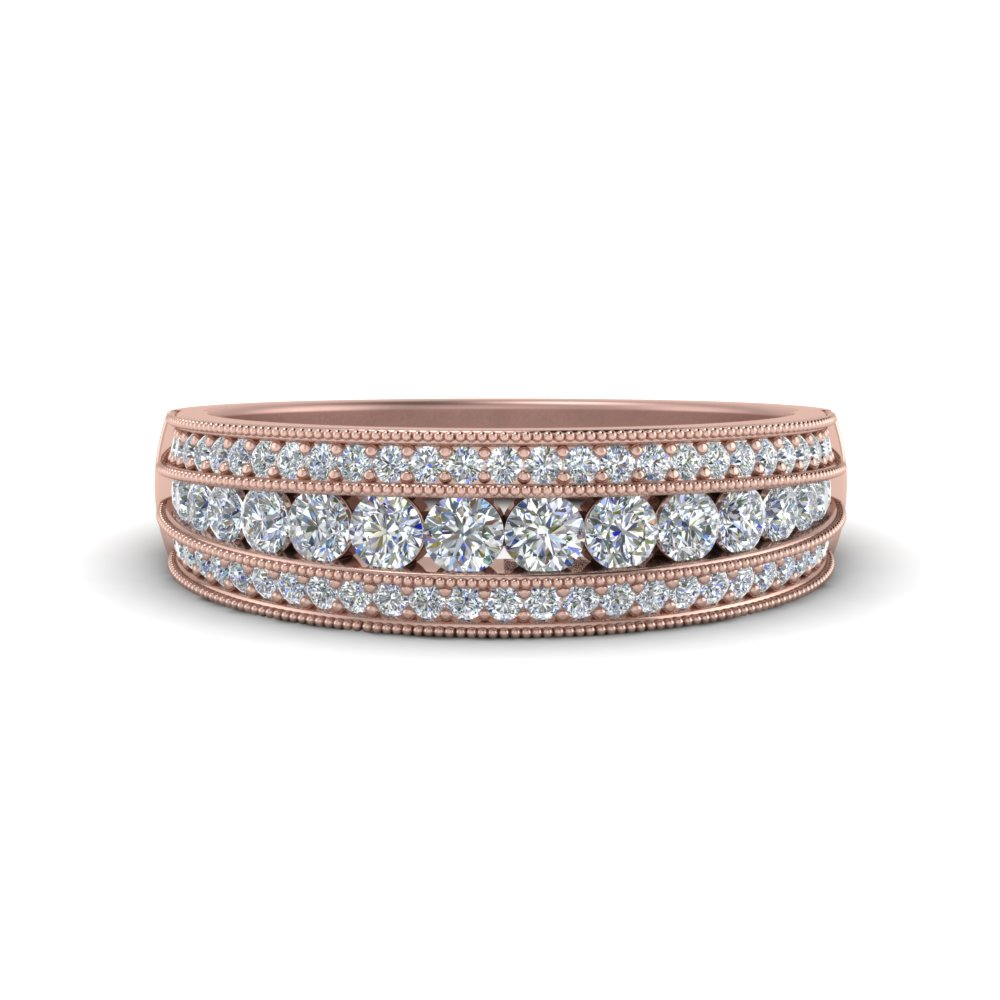 3 Row Diamond Milgrain Band In 14K Rose Gold