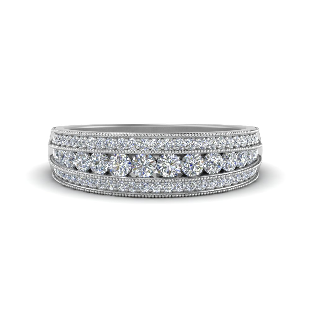 wg gold fascinating row white milgrain band jewelry in custom wedding with diamond rings diamonds nl
