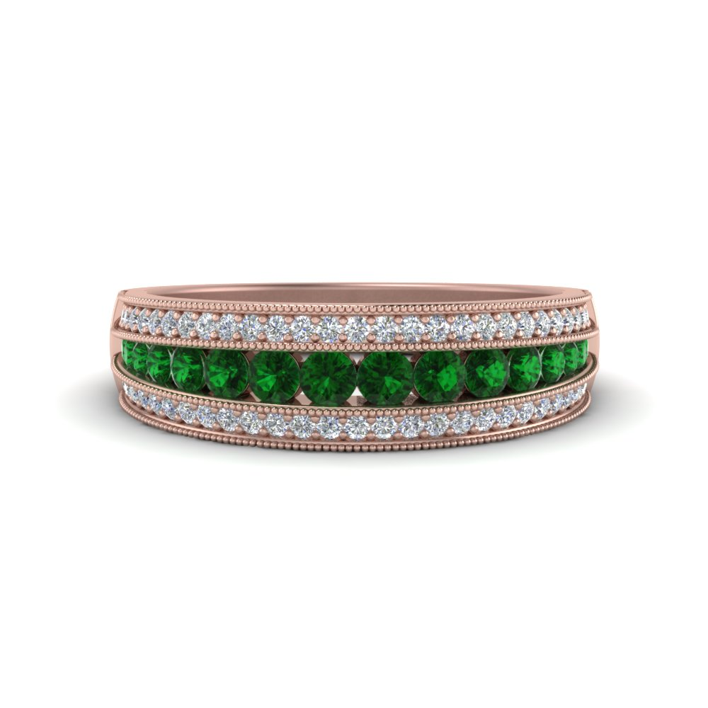 3 Row Emerald Wedding Band
