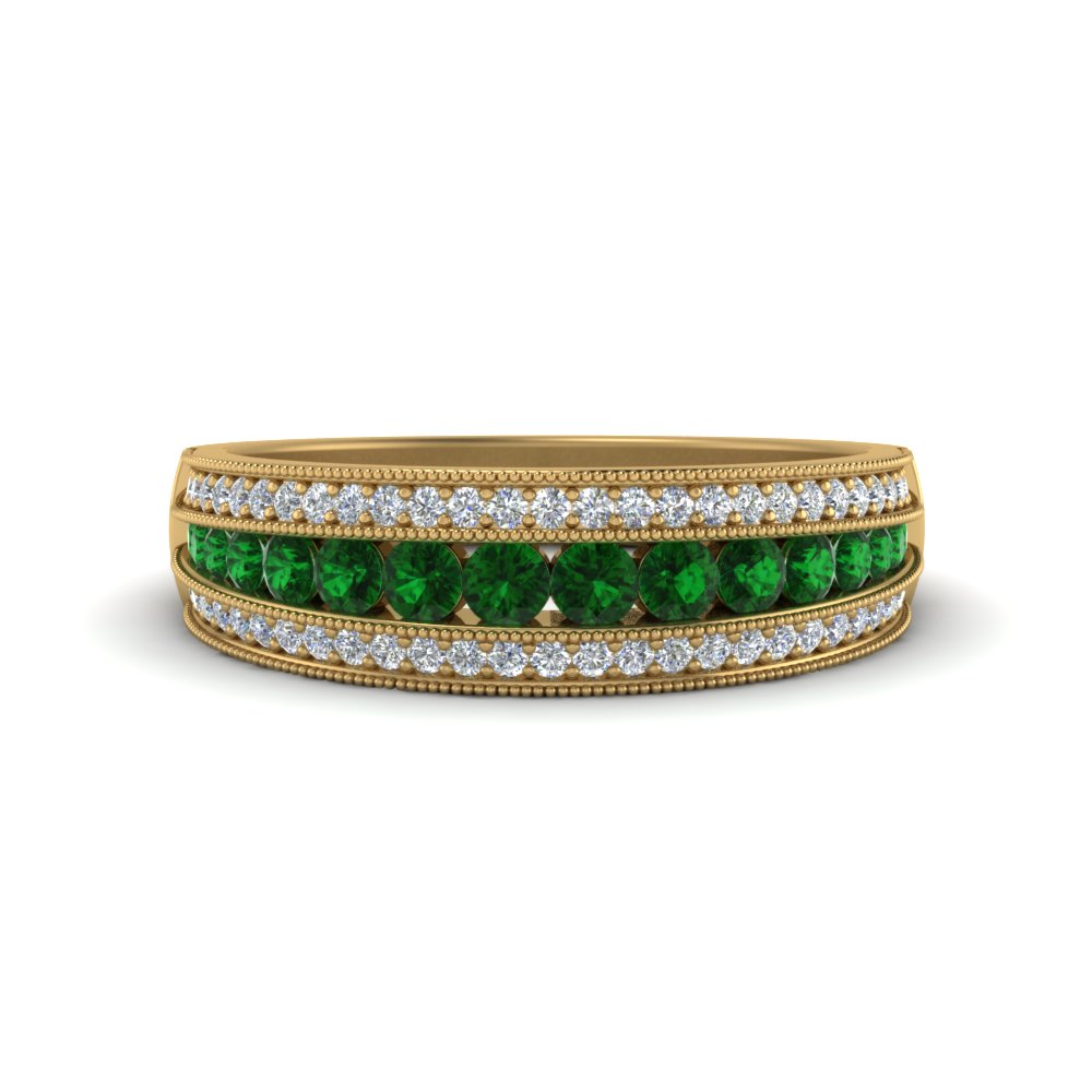 Emerald Milgrain Wedding Band