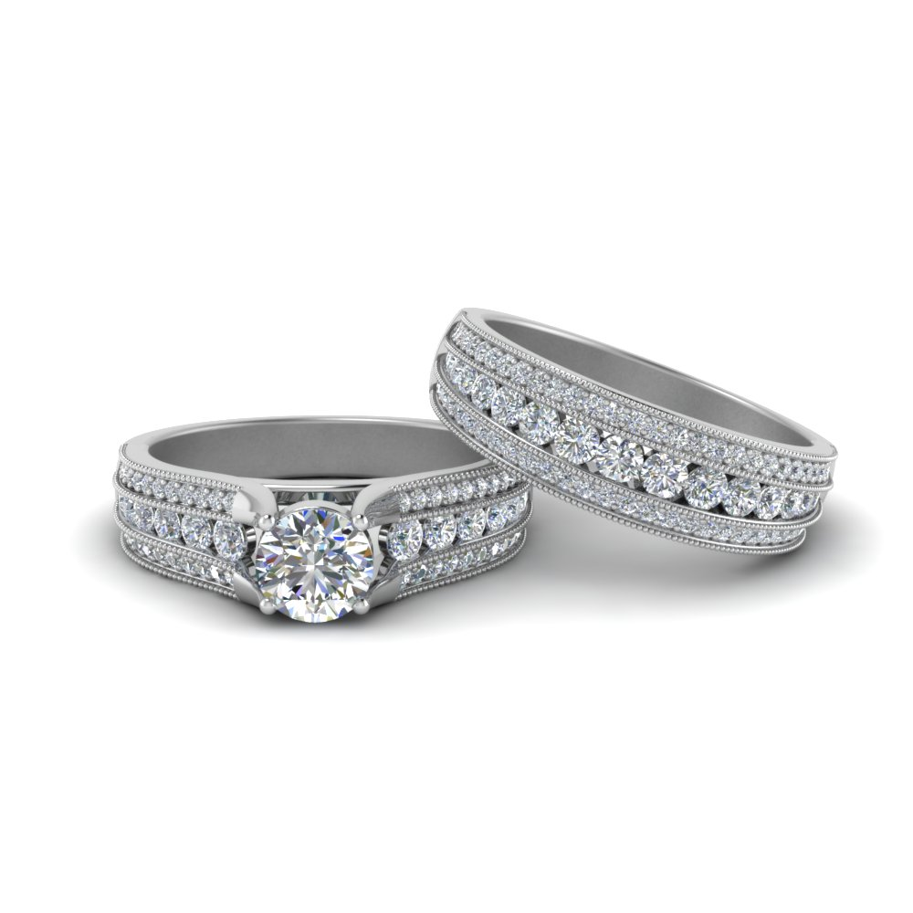 3 Row Diamond Milgrain Bridal Ring Set