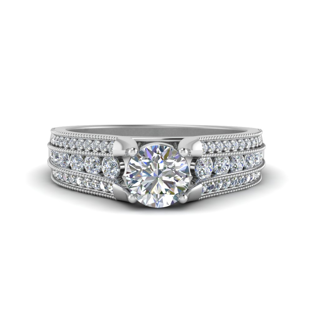 3 Row Diamond Engagement Ring