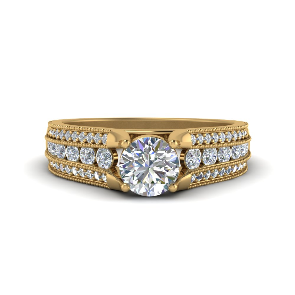 Triple Row Diamond Milgrain Ring