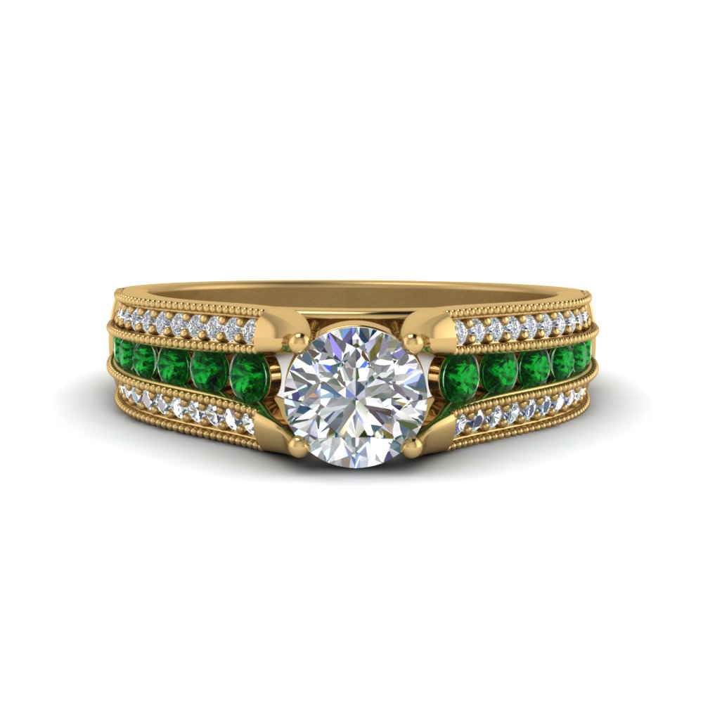 3-row-diamond-milgrain-engagement-ring-with-emerald-in-FD8680RORGEMGR-NL-YG