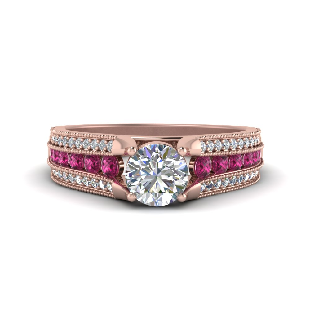 3-row-diamond-milgrain-engagement-ring-with-pink-sapphire-in-FD8680RORGSADRPI-NL-RG