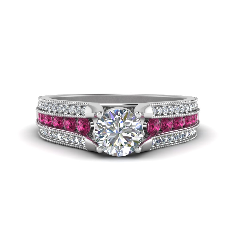 3-row-diamond-milgrain-engagement-ring-with-pink-sapphire-in-FD8680RORGSADRPI-NL-WG