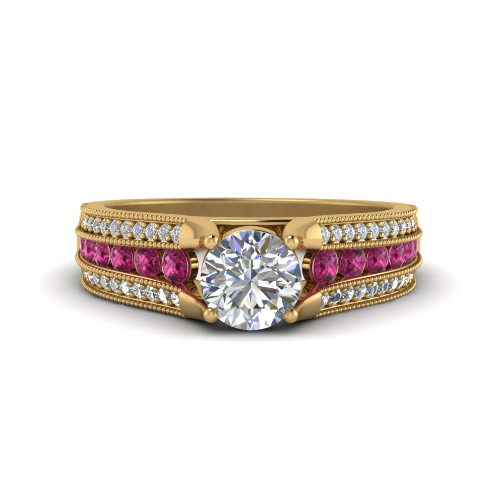 3-row-moissanite-milgrain-engagement-ring-with-pink-sapphire-in-FD8680RORGSADRPI-NL-YG