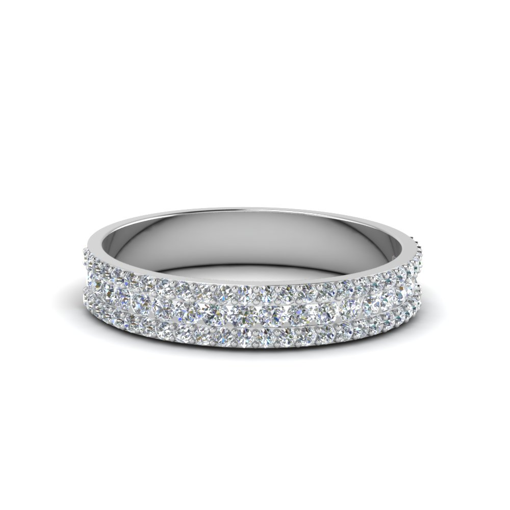 Round Diamond 3 Row Wedding Band