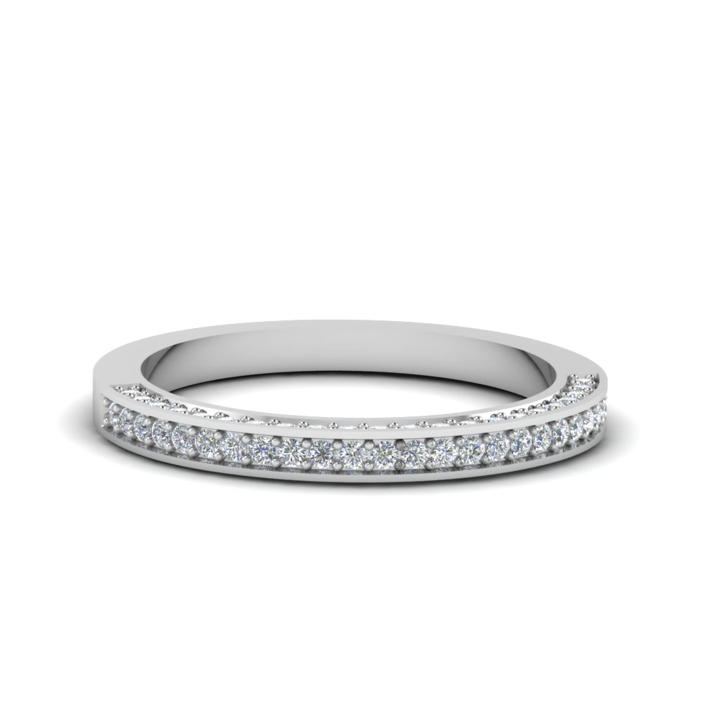 3 Side Pave Set Diamond Band