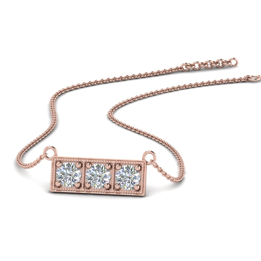 Pink Gold 3 Stone Bar Necklace