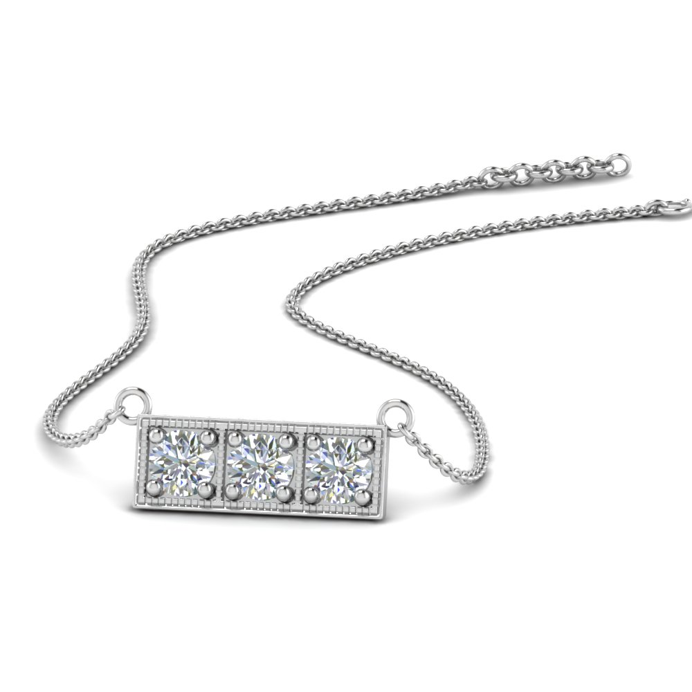 3 stone bar necklace in FDPD86612 NL WG