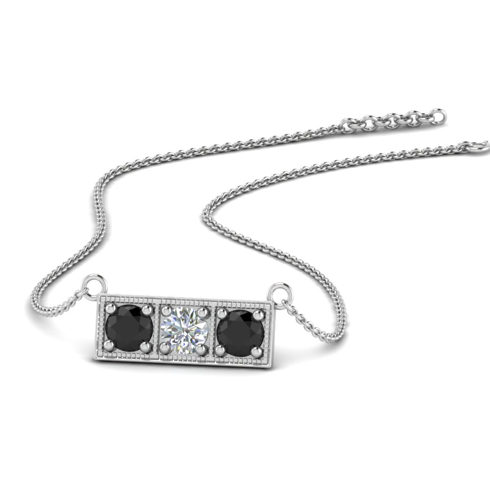 Diamond 3 Stone Bar Necklace