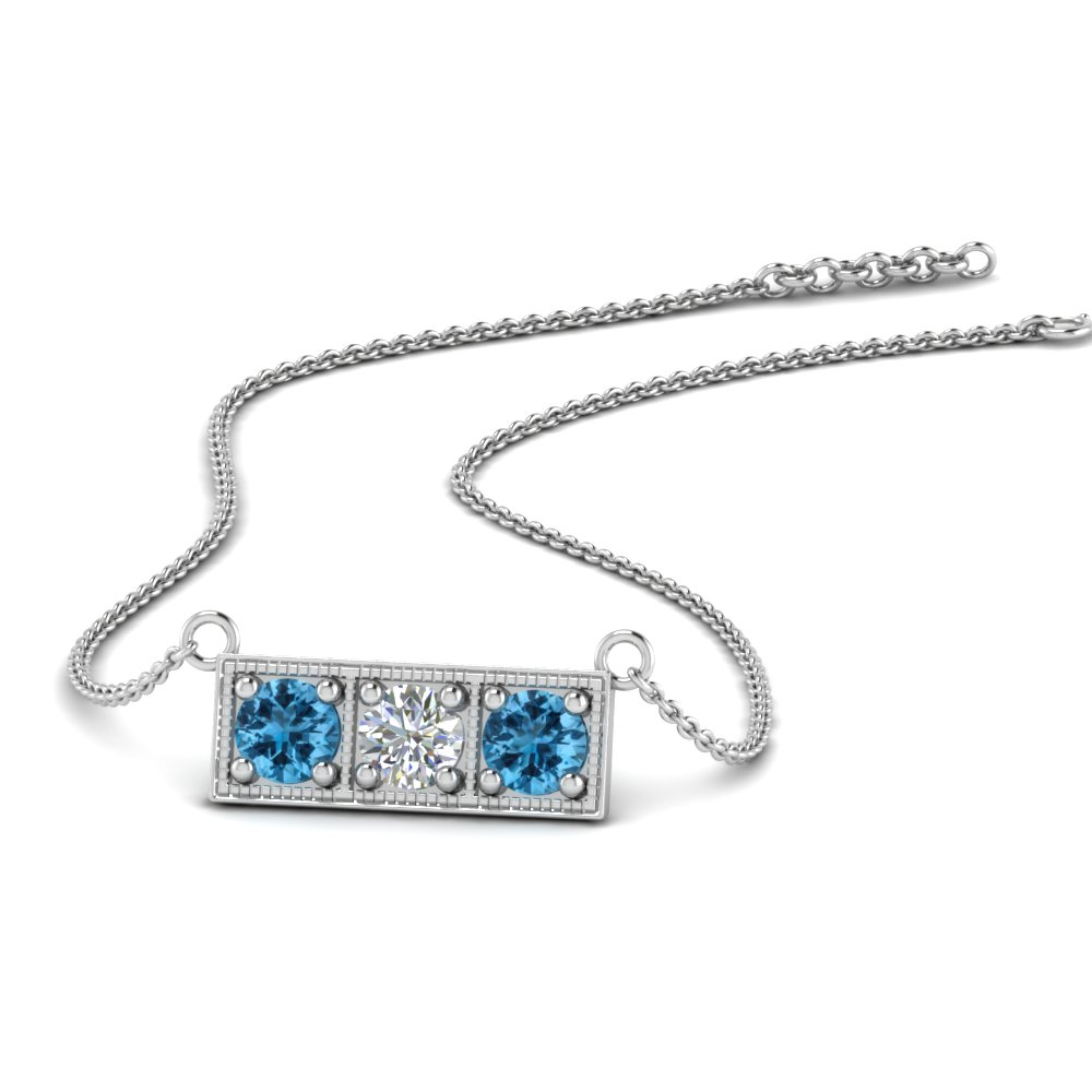 3 Stone Blue Topaz Bar Necklace