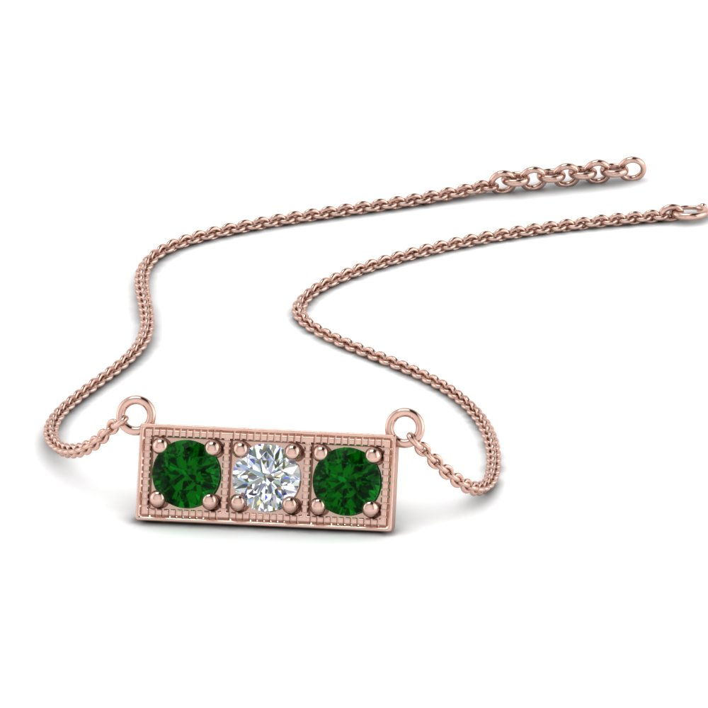 3 stone bar necklace with emerald in FDPD86612GEMGR NL RG