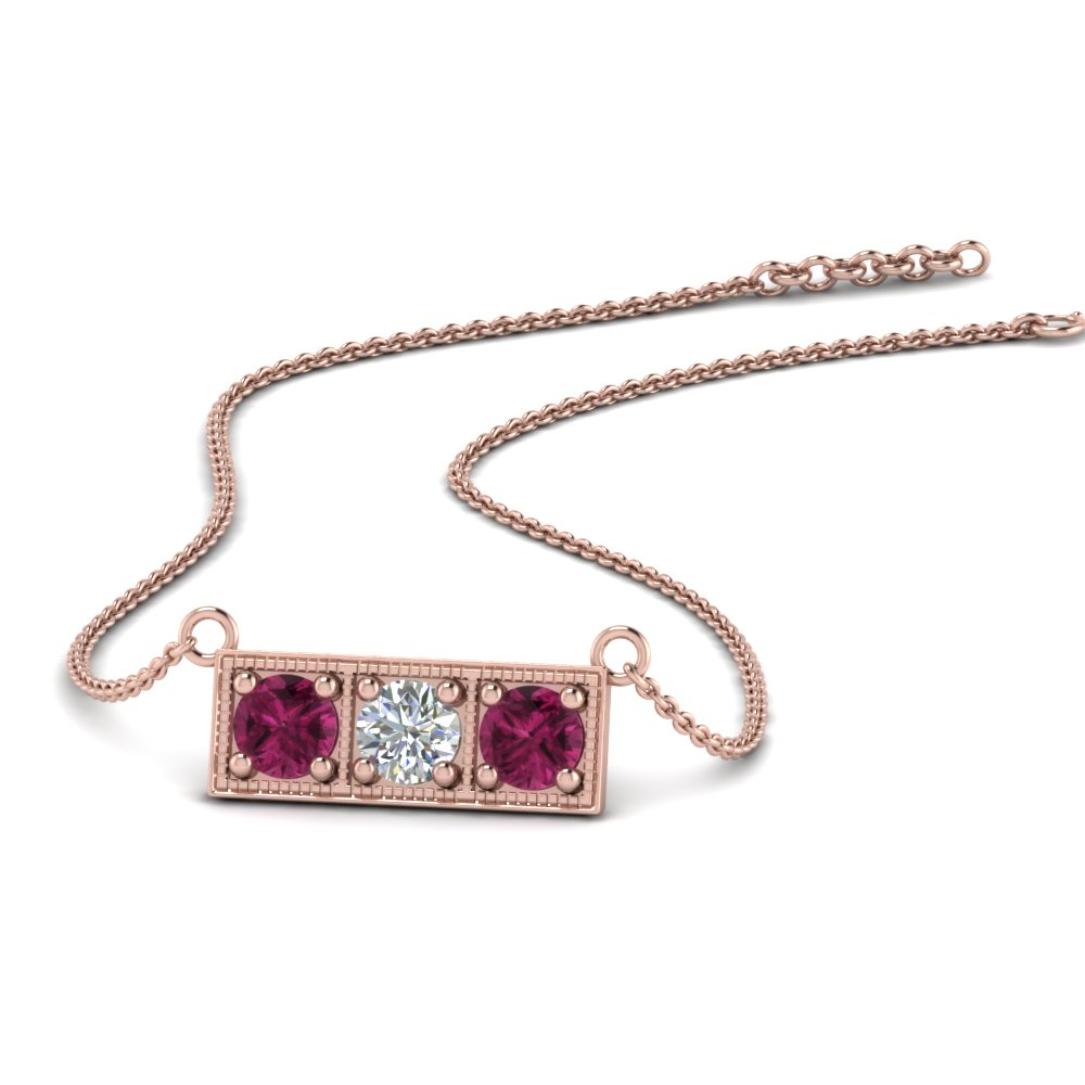 3 Stone Pink Sapphire Necklace