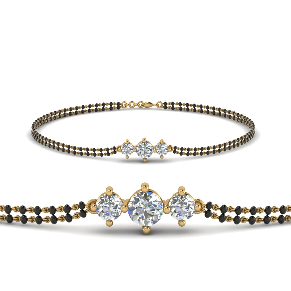 Three Stone Diamond Mangalsutra Bracelet