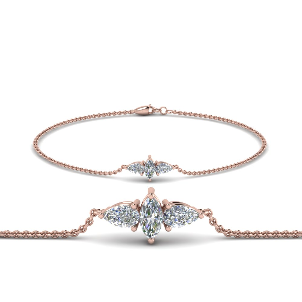 Marquise And Pear Diamond Bracelet