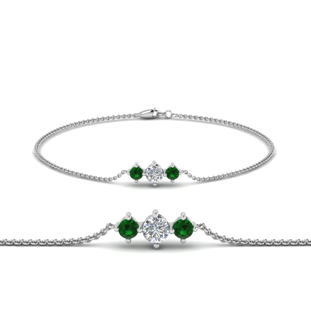 3 stone bracelet for mothers with emerald in FDBRC8693GEMGRMD NL WG