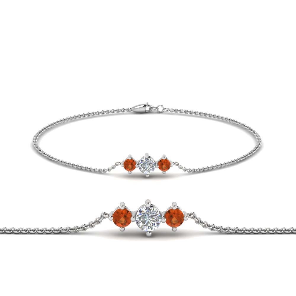 3 stone bracelet for mothers with orange sapphire in FDBRC8693GSAORMD NL WG
