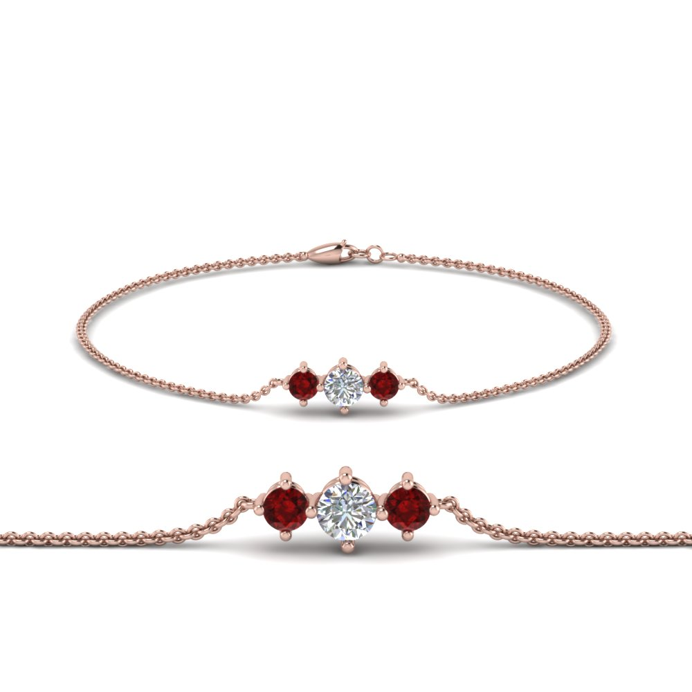 3 Stone Ruby Diamond Bracelet