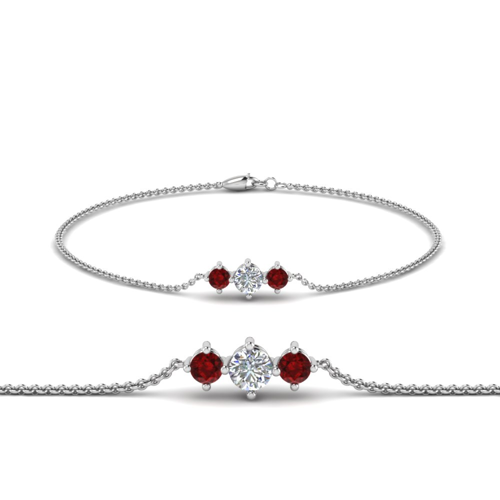 3 stone bracelet for mothers with ruby in FDBRC8693GRUDRMD NL WG