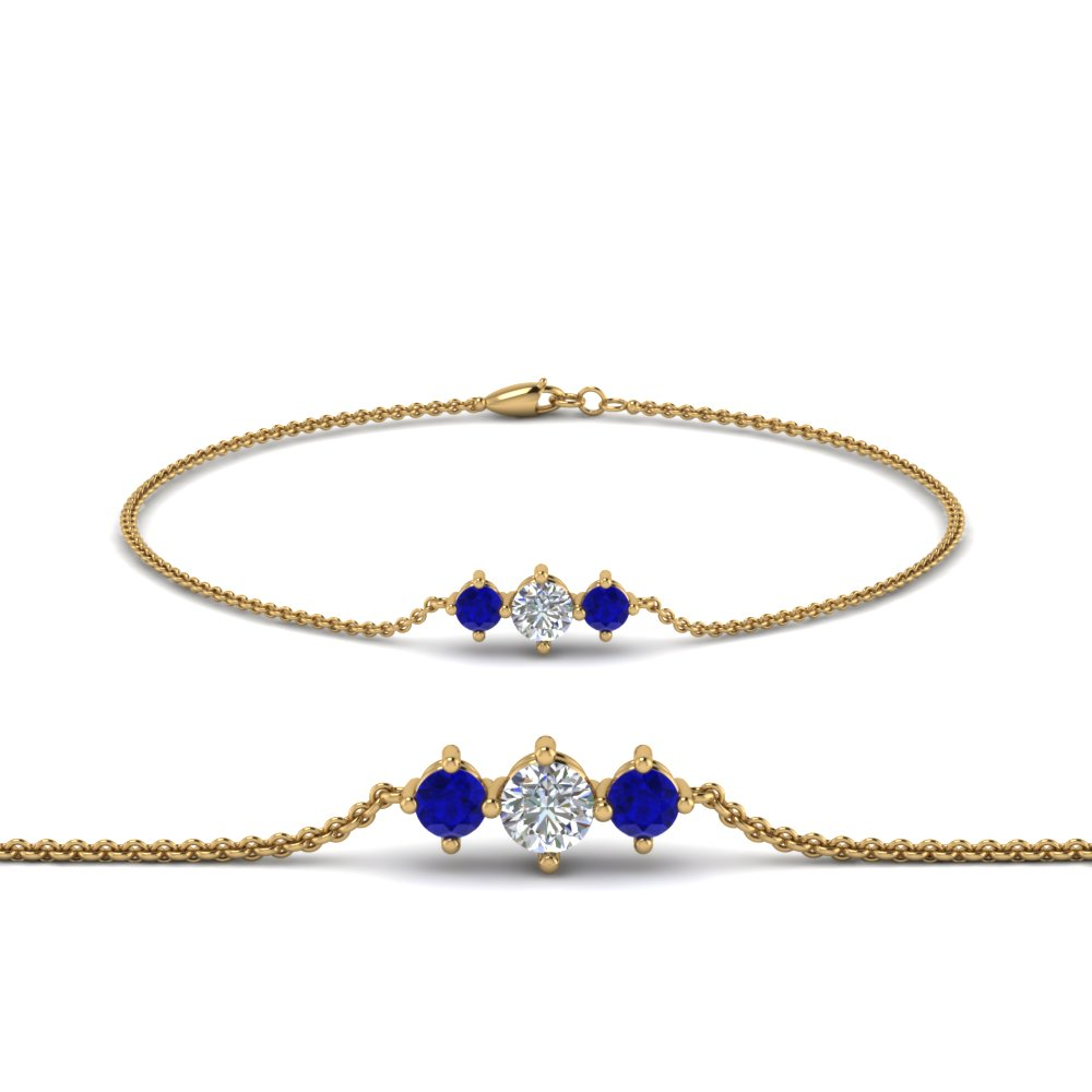 3 stone bracelet for mothers with sapphire in FDBRC8693GSABLMD NL YG