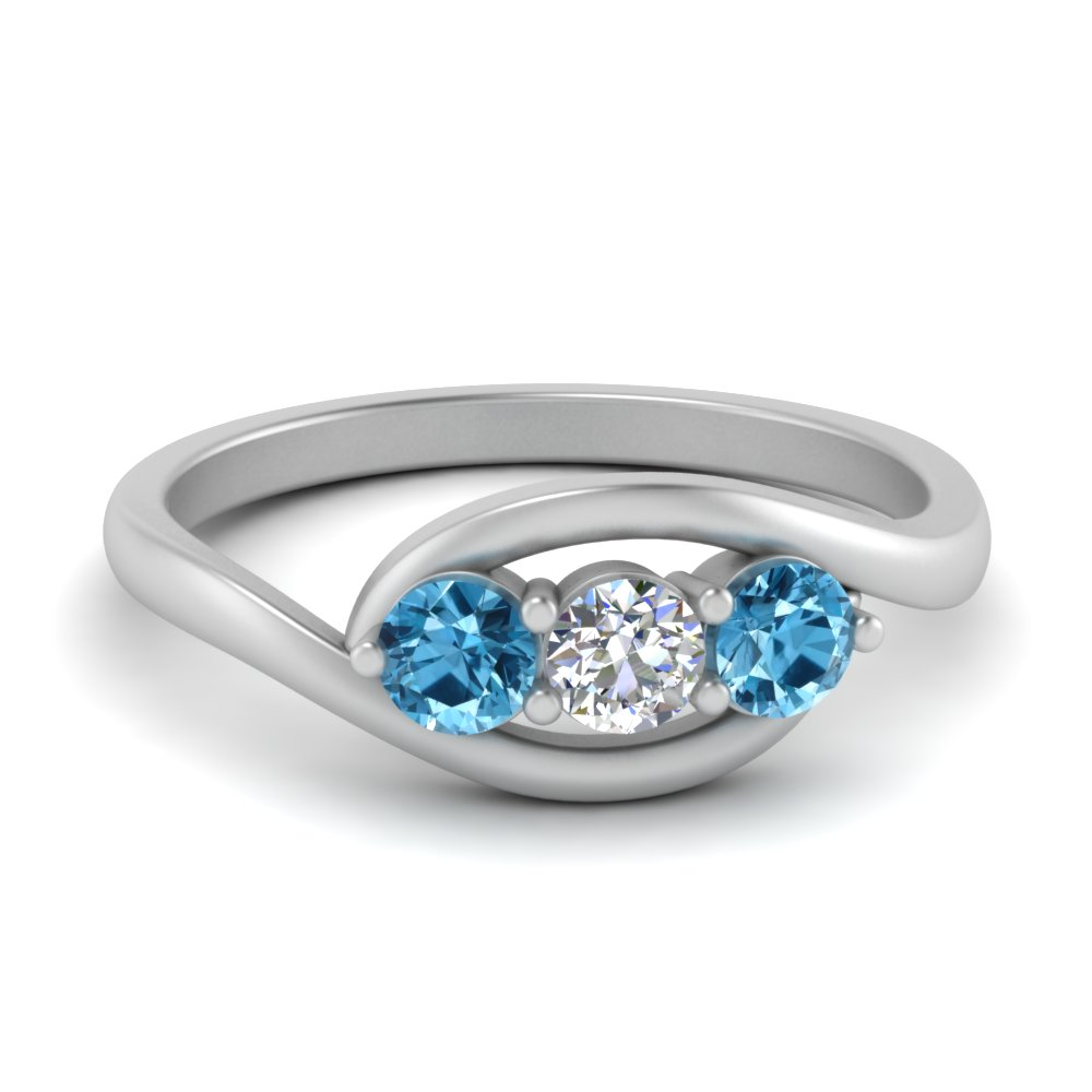 3 stone crossover blue topaz wedding ring in FD123446RORGICBLTO NL WG