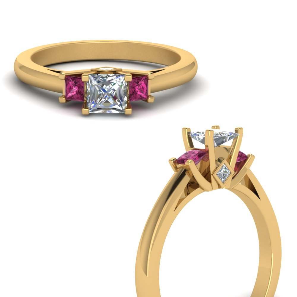 lotus prong princess cut diamond engagement ring with pink sapphire in FDENR7756PRRGSADRPIANGLE3 NL YG.jpg