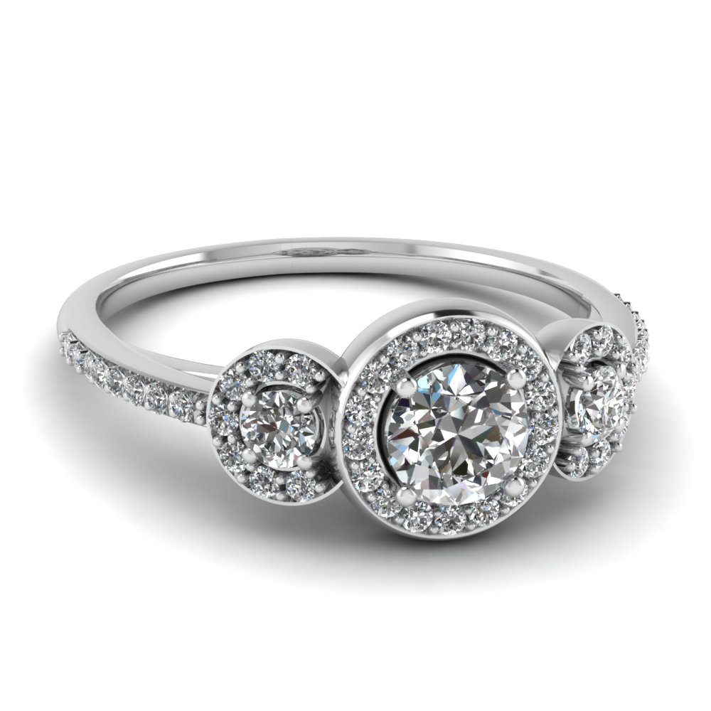 3 Stone Diamond Petite Halo Vintage Wedding Ring In 14K White Gold