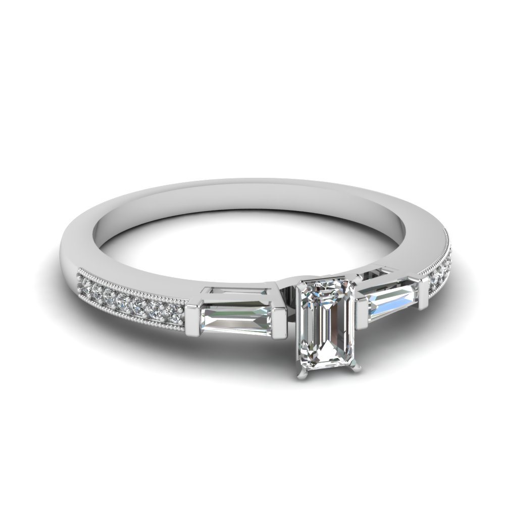 3 Stone Diamond Ring Sale With Baguette In Fdens3074emr Nl Wg 30
