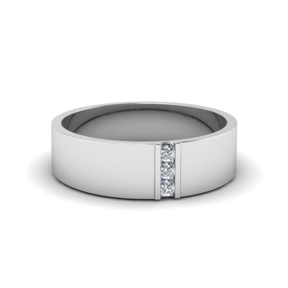 3 Stone Diamond Wedding Anniversary Band For Men In 950 Platinum