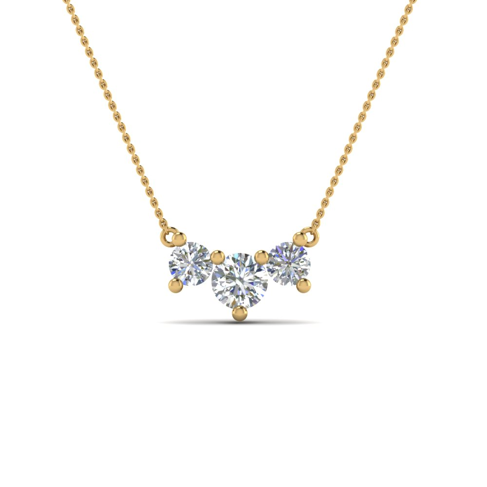 3 Stone Round Diamond Pendant Necklace